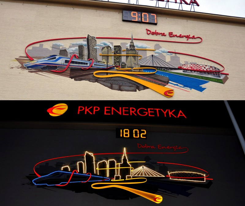 PKP Energetyka light installation Good Energy mural in Warsaw | Artistic Murals | Our offer