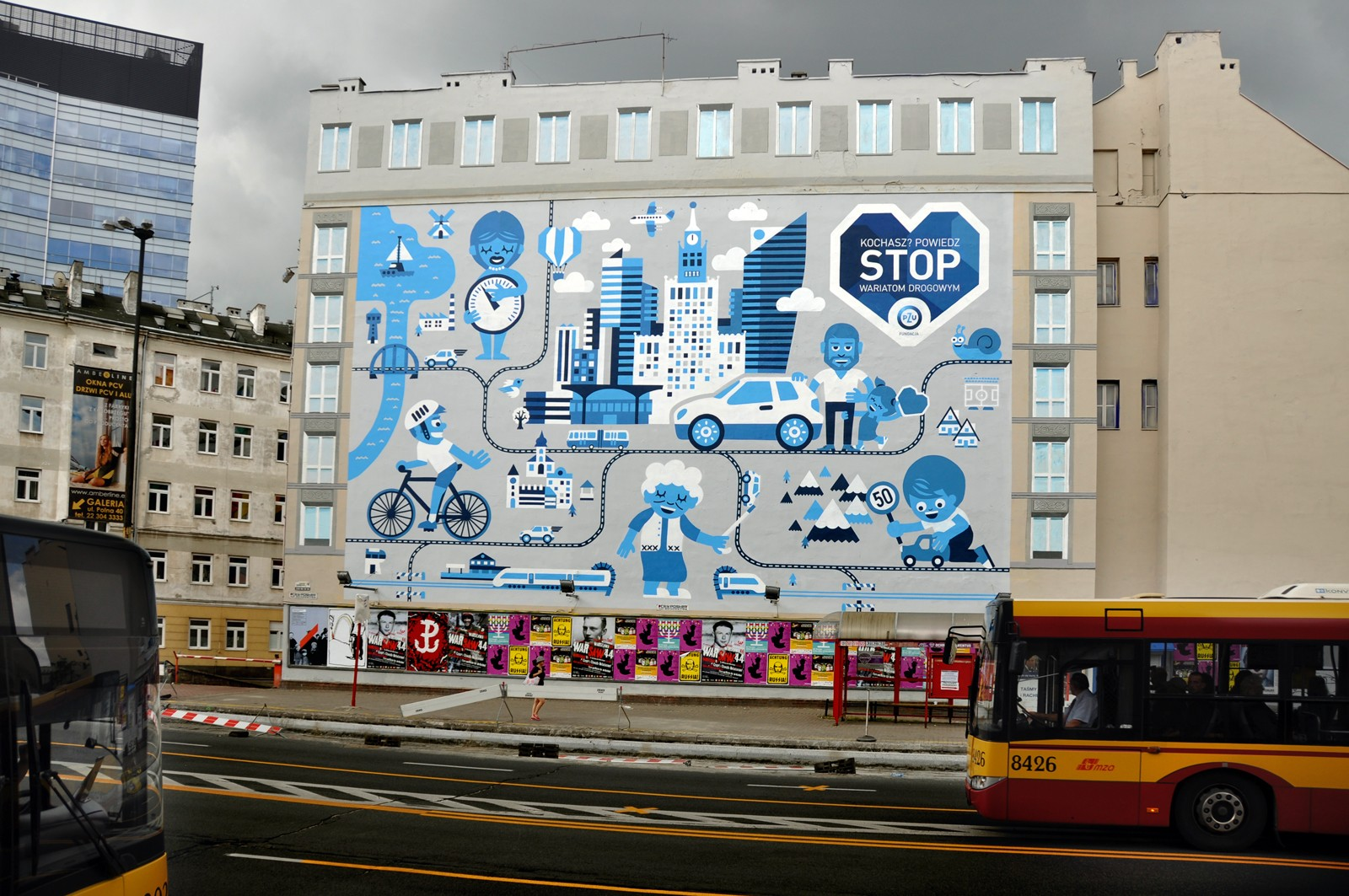 PZU Stop roadhogs mural in Warsaw near Polna street and Politechnika subway station | Stop roadhogs | Portfolio