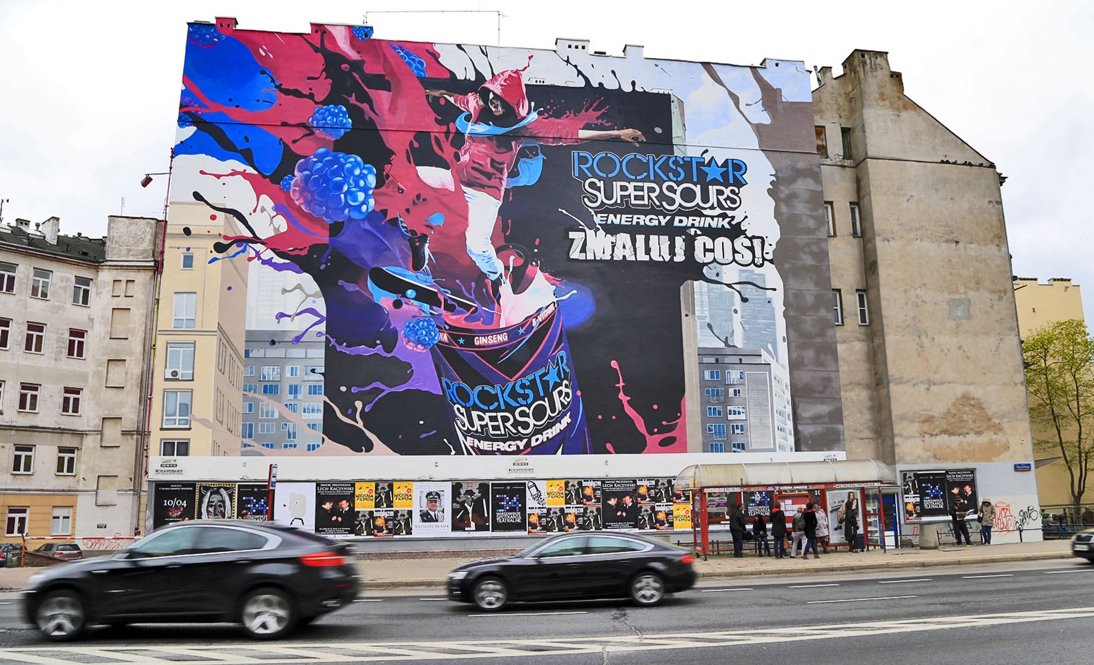 Rockstar Super Sours Energy Drink mural Paint a thing in Warsaw Politechnika subway station near Polna street | Paint a thing / Move the city | Portfolio