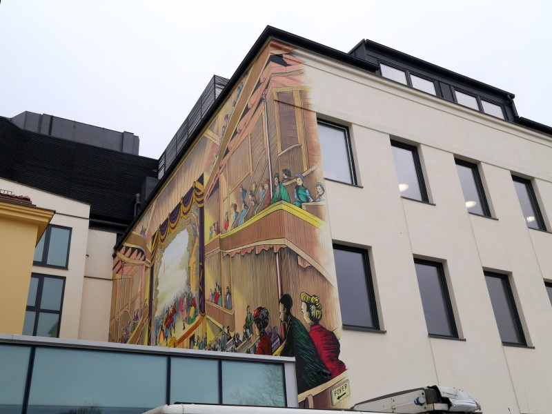 Artistic mural on the wall in Warsaw Finlog Noris Poland Theater Hotel | Theater Hotel | Portfolio