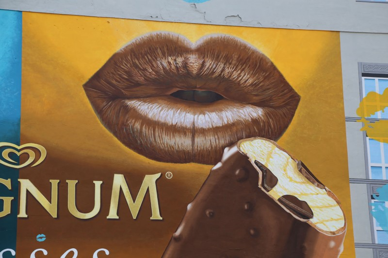 Magnum ice cream mural in Warsaw Downtown Bracka street Department Store Bracia Jablkowscy | Magnum Kisses | Portfolio