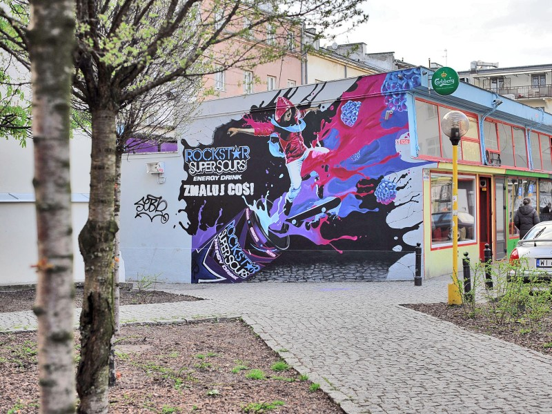 Rockstar Super Sours Energy Drink mural Paint a thing in Warsaw pavilions Nowy Swiat street | Paint a thing / Move the city | Portfolio