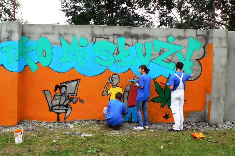 Painting on the wall at sport facilities in Czerwinsk upon Vistula river | Czerwinsk on the Vistula | CSR | About us