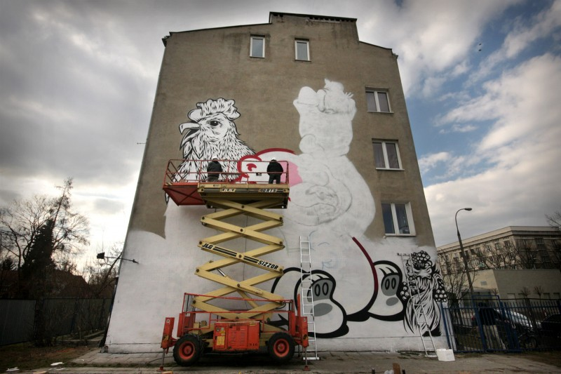 Mural on the wall Flying Fortress x Swanski in Warsaw | Flying Fortress x Swanski | Backstage
