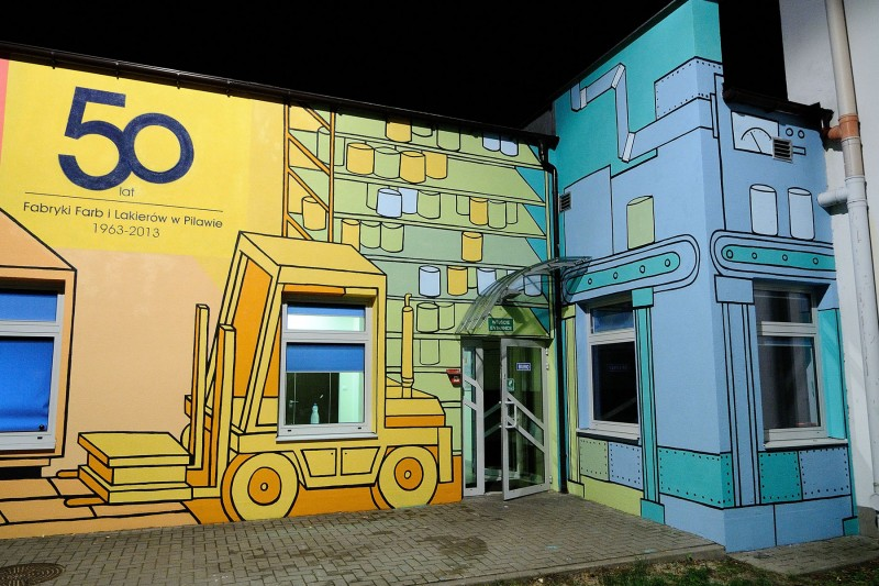 Mural on the AkzoNobel Poland Factory wall in Pilawa | AkzoNobel Factory | Portfolio