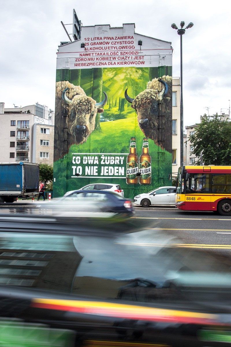 Advertising mural Every two Zubr are better than one in Cracow | Every two Zubr are better than one | Portfolio