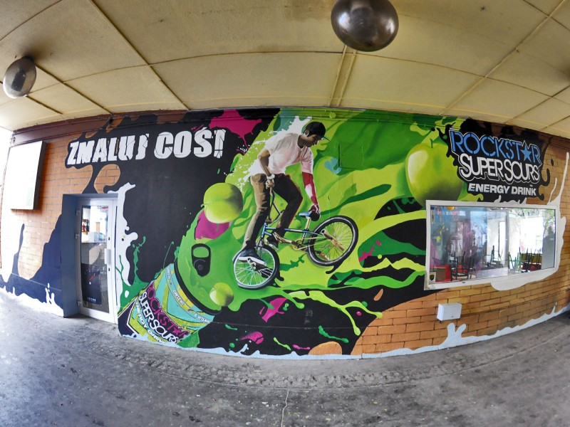 Rockstar Super Sours Energy Drink advertising mural Paint a thing in Warsaw pavilions Nowy Swiat street | Paint a thing / Move the city | Portfolio
