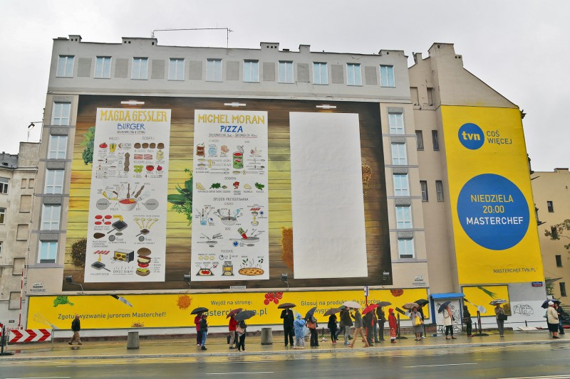 Advertising mural Masferchet Poland in Warsaw beside Politechnika subway station and University of Technology | Masterchef | Portfolio