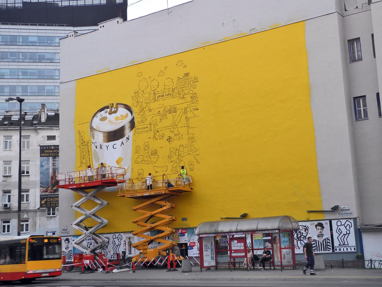 Handpainting advertising mural for Grycan - Warsaw Politechnika subway station | Grycan Yoghurt Ice Cream | Portfolio