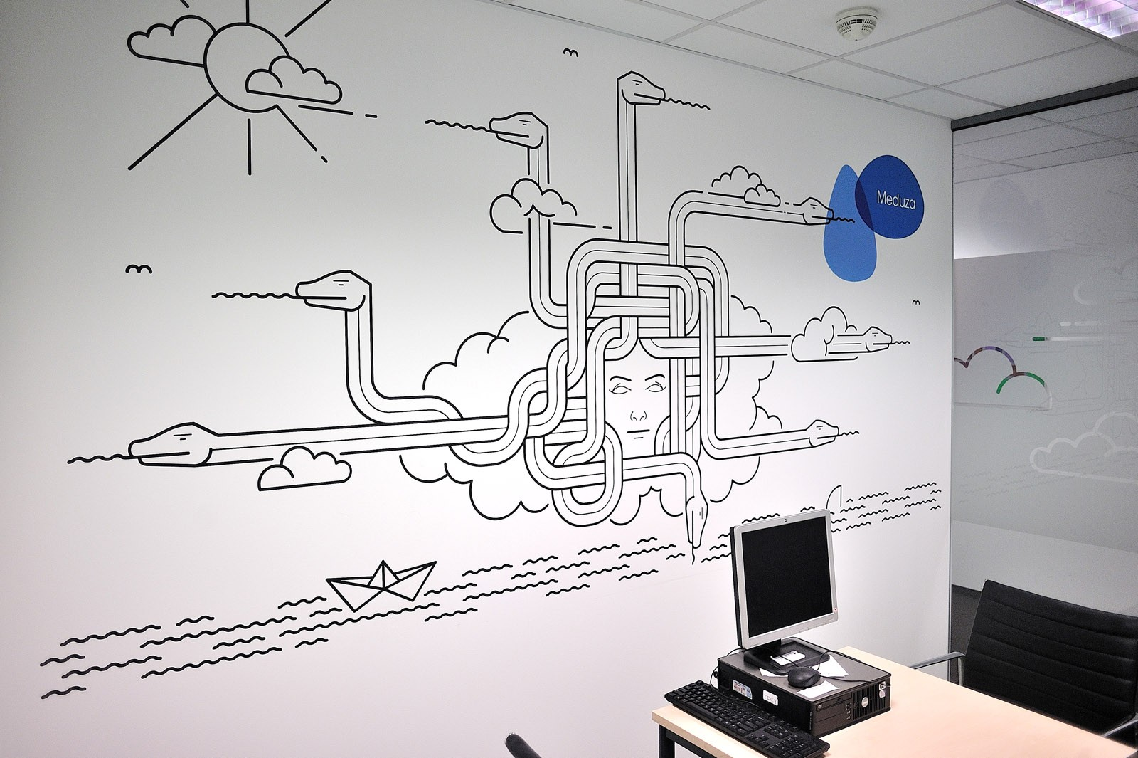 Handpainting on the wall besides workplace in Provident Polska | Headquarters and Call Center | Portfolio