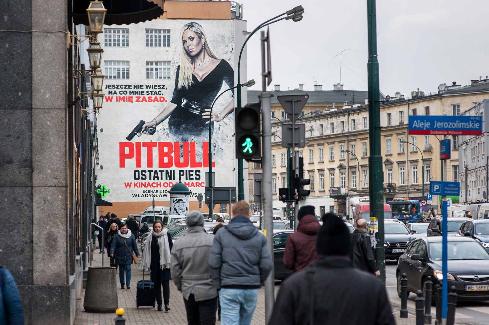 View on an advertising mural from the movie pitbull from aleje jerozolimskie on bracka street in warsaw | Pitbull. Ostatni pies | Portfolio
