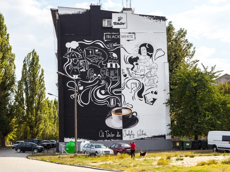 Painting on the wall in Wroclaw for Tchibo Black and White | Black & White | Portfolio